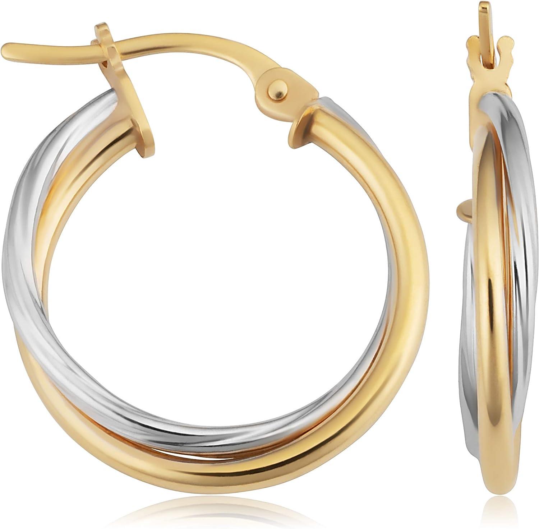 Shinny Brilliant Cutting 14k Solid Gold  Hoop Earrings