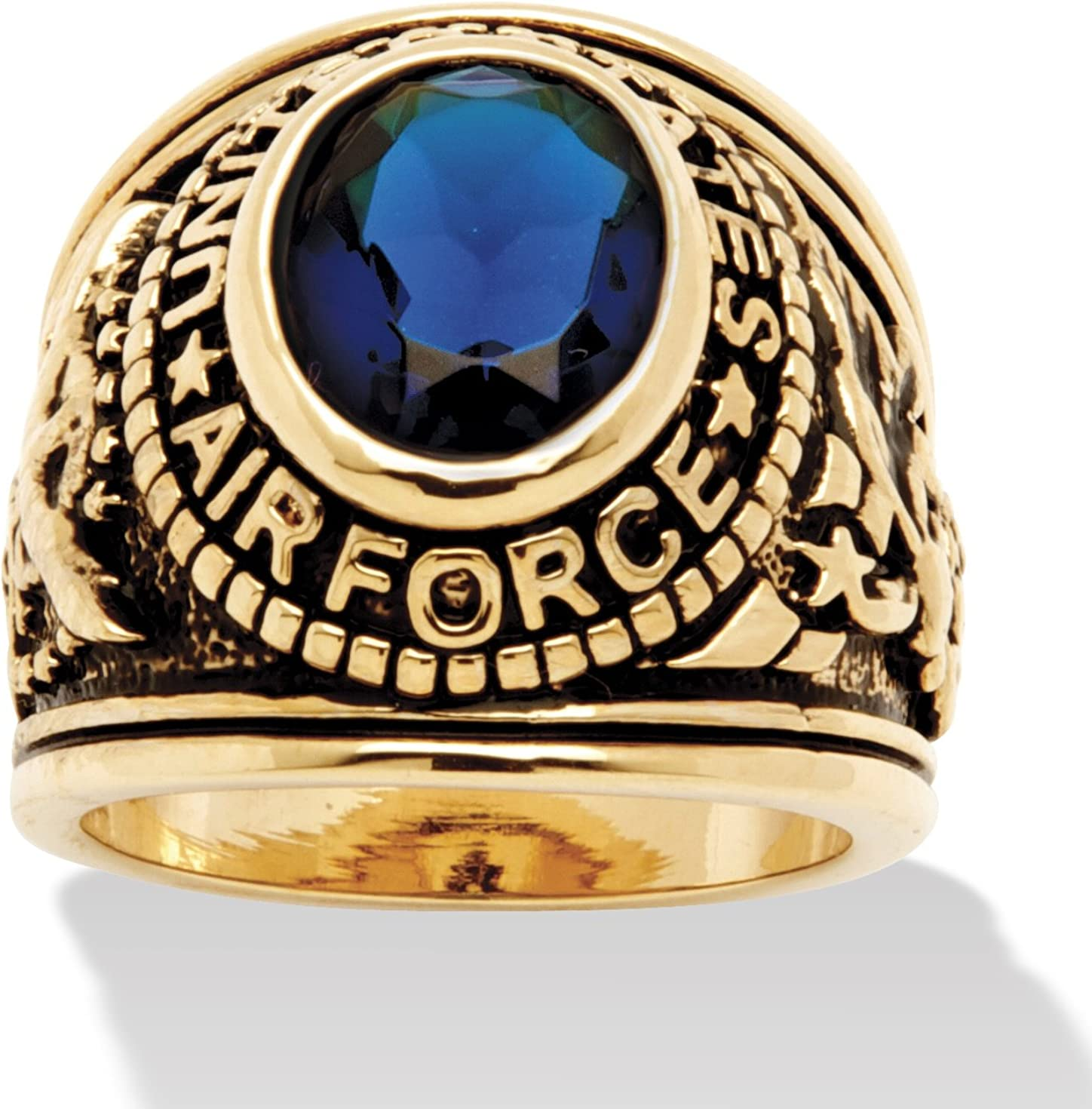 Palm Beach Jewelry Men's 14K Yellow Gold Plated Antiqued Oval Cut Simulated Blue Sapphire United States Air Force Ring
