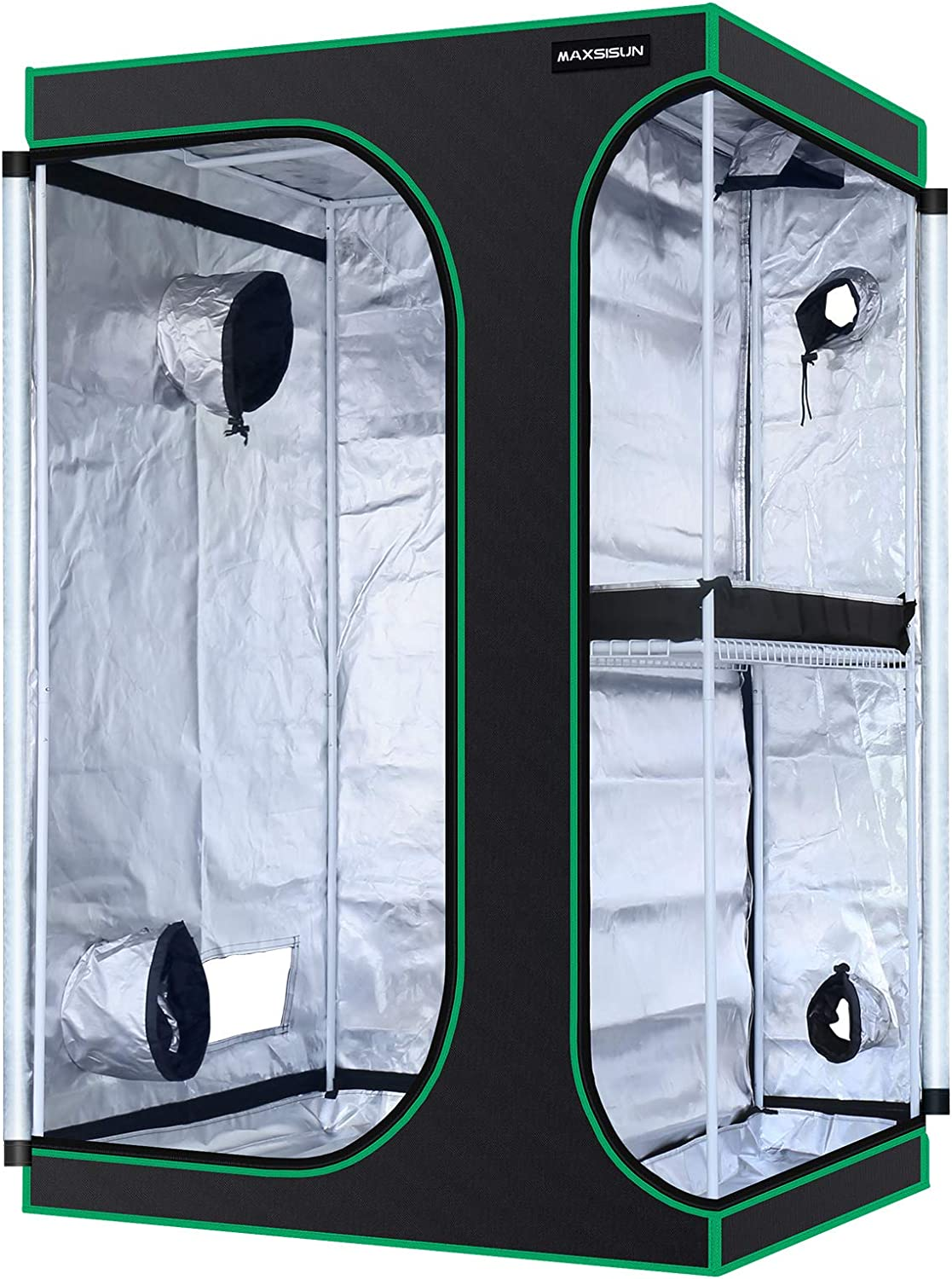 MAXSISUN 2-in-1 4x3 Grow Tent 600D Mylar Hydroponic Indoor Plants Growing Tent with Observation Window and Floor Tray, 48x36x72 Grow Cabinet Multi-Chamber Space from Seeding to Harvest