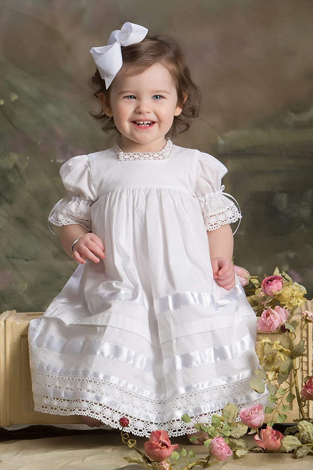 610bff5e35 Amazon.com  Girls Heirloom Baptism Dress Toddler and little Girls Communion  Dress Flower Girls  Handmade