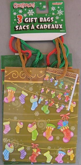Amazon.com: Bolsas de regalo para Navidad, 3pk. Tamaño ...