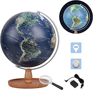 FUN GLOBE World Globe Desktop Education Geographic Interactive Earth Globes for Kids & Adults for Educational Toys/Office Supplies/Indoor Decorations/Holiday Gift (Navy 10 in)