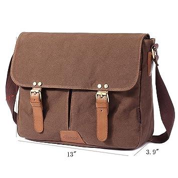 FLYMEI Canvas Messenger Bag 14Inch Laptop Shoulder Bags Bookbag School Crossbody Sling Working