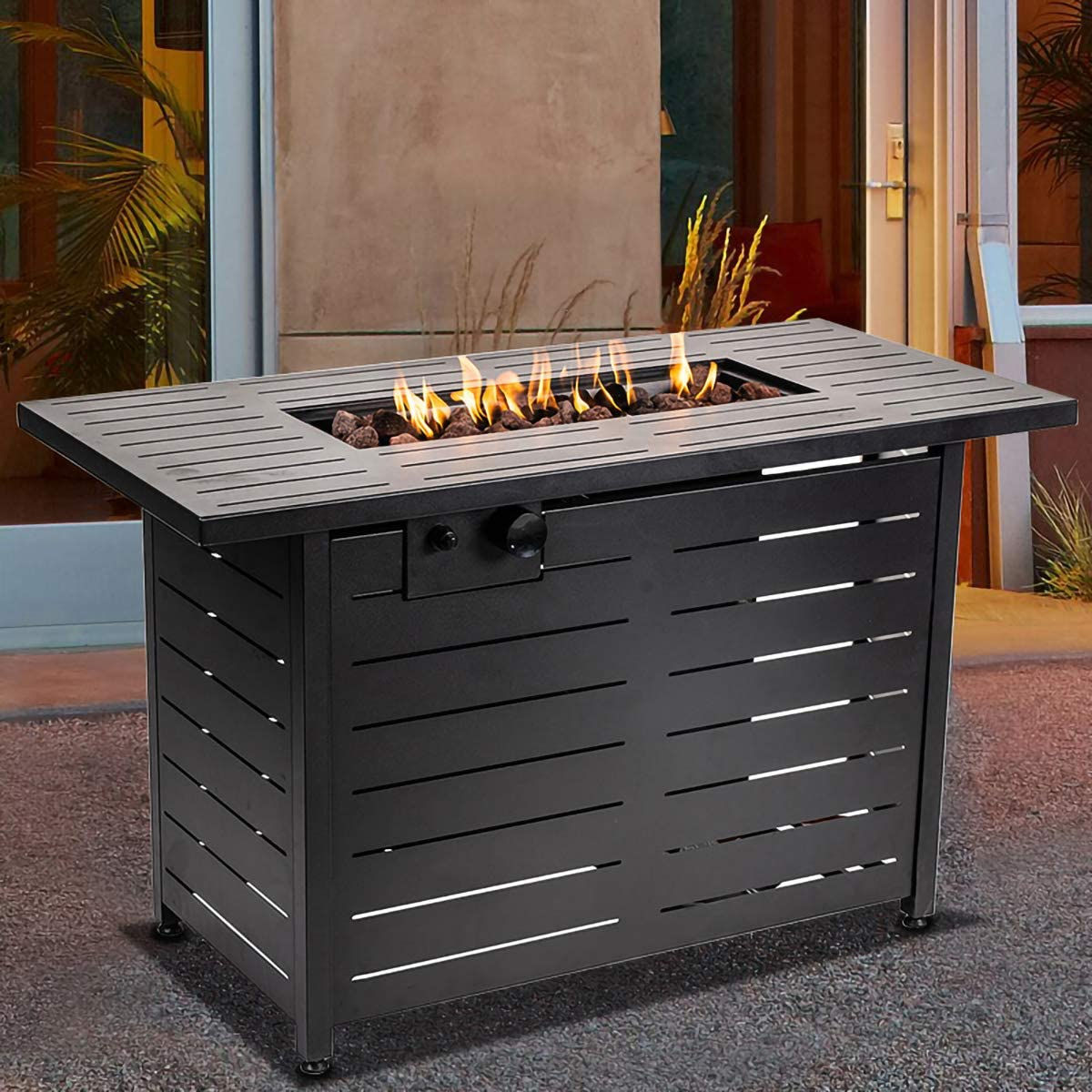Sounity Propane Fire Pit Table Pit in Winter,42 Inch 60,000 BTU Rectangular Propane Gas Fire pits Auto-Ignition Gas Fire Pit Table with lid for Courtyard,Garden,Terrace Table in Summer