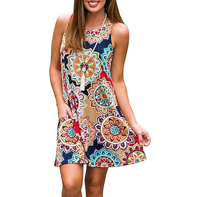 Vestido de Flores para Mujer, Moda Impresión de Bohemia Loose Fit Blusa Largo Elegante Sin