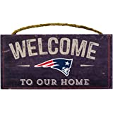 New England Patriots NFL Team Logo Garage Home Office Room Wood Sign with Hanging Rope - WELCOME TO OUR HOME