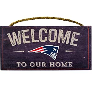 "Fan Creations Welcome New England Patriots Distressed 6 x 12, 6"" x 12"", Multicolored"