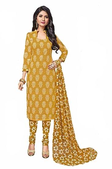 78ec0a324e Manmandir Women's Cotton Salwar Suit (Malhari-533, Mustard Yellow, Free  Size)