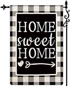 Coskaka Home Decorative Welcome Home Sweet Home Garden Flag Buffalo Plaid Check Outdoor Black and White Burlap Spring Summer Outside Farmhouse Holiday Flag 12.5 x 18