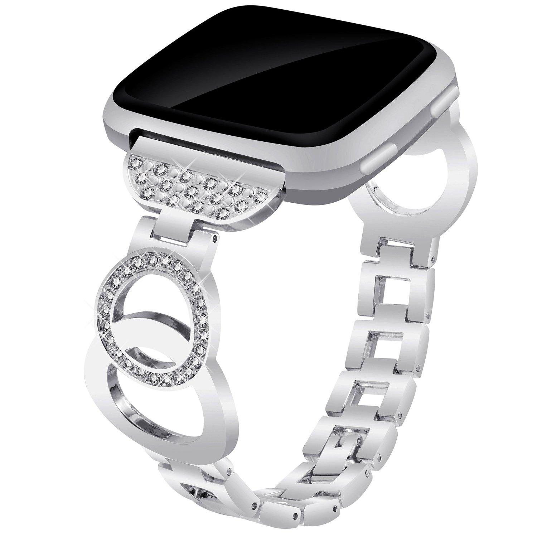 Voma for Fitbit VersaバンドレディースメンズスモールLarge ,ステンレススチール交換用メタルストラップブレスレット調節可能なWristbands for Fitbit Versa Smartwatch B07C7BTGFH Bangle, Silver Bangle, Silver