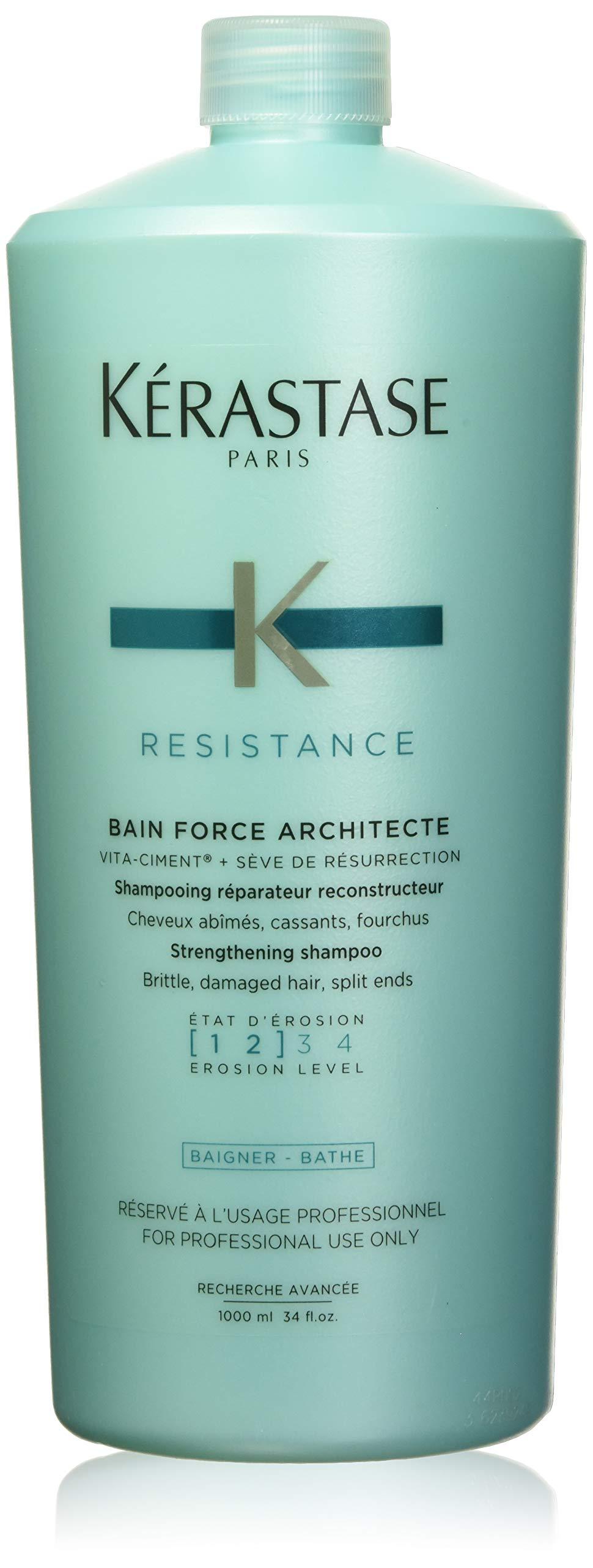 KERASTASE Resistance Bain Force Architecte Shampoo, 34 Fluid Ounce, Multicolor, reg (ABC148)