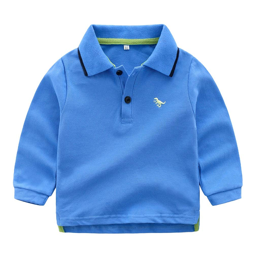 Timall Baby Boys Polo T-Shirt Buttons Long Sleeve Button Down Cotton Shirts Solid Color Tops