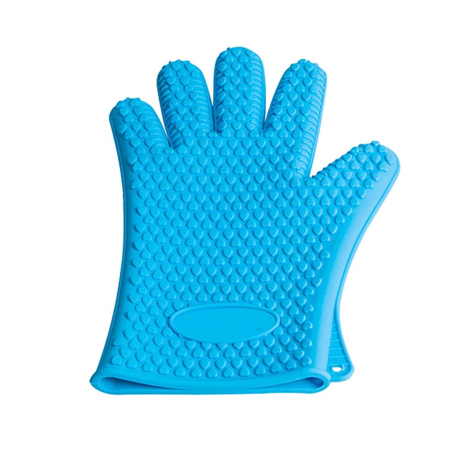 Silicone BBQ Gloves - Oceom Best Heat Resistant Non-slip Oven Mitts For Cooking, Baking, BBQ, Oven, Microwave, Frying, Freezer, Kitchen 1PC (Blue)