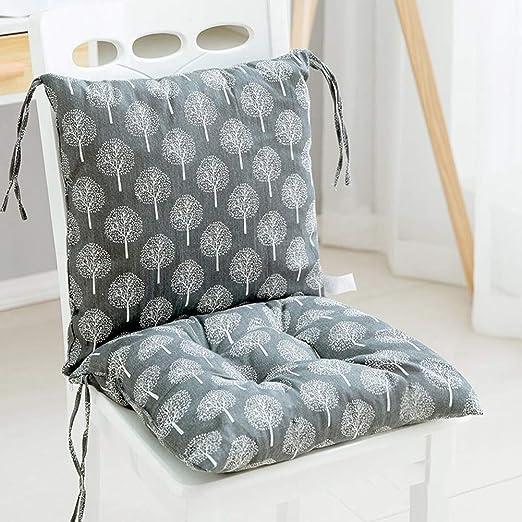 KongEU - Cojín para Silla de jardín, Asiento de Oficina para sillas de Respaldo bajo, Almohadilla de Asiento y Respaldo de Espuma Suave, Desmontable con Cremallera, 80 x 40 x 6, 5