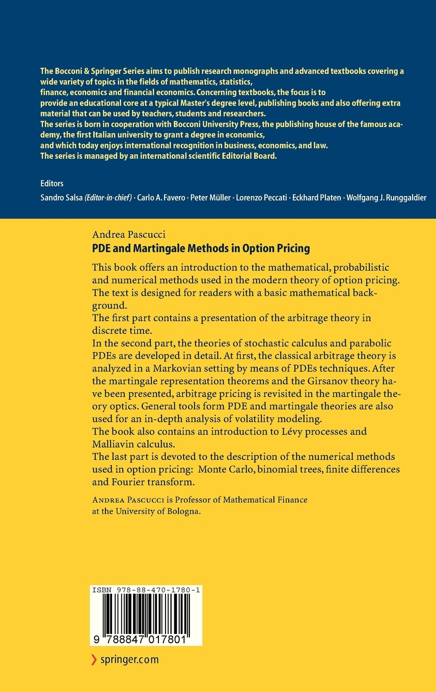 PDE and Martingale Methods in Option Pricing (Bocconi & Springer Series)