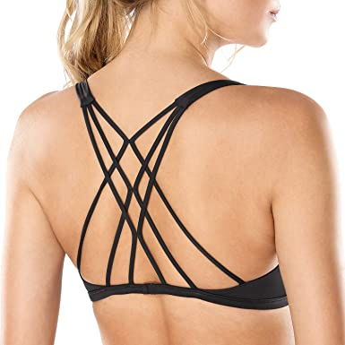 191396cc27c95 CRZ YOGA Women s Removable Pads Yoga Top Cross Strappy Back Sports Bra  Black XS Fit 30D