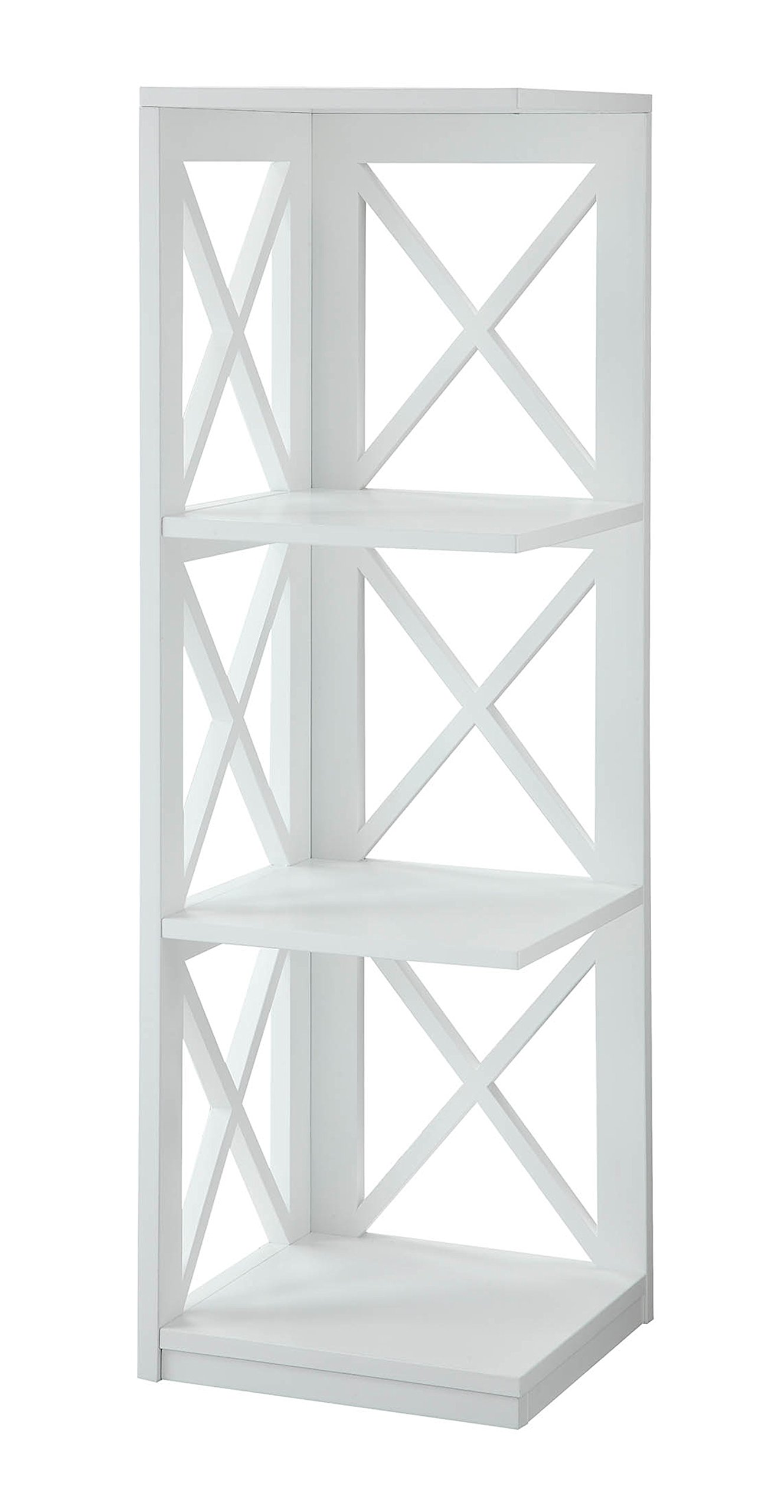 Convenience Concepts Oxford 3-Tier Corner Bookcase, White