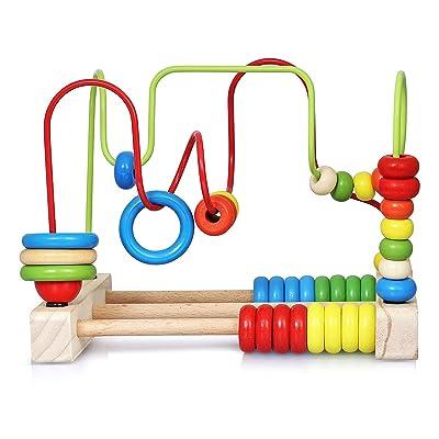 NIMNIK Classic Bead Maze Cube Juguetes para bebés Pequeños niños Roller Coaster Beads Juguetes de Aprendizaje temprano para niños de 3 años: Juguetes y juegos