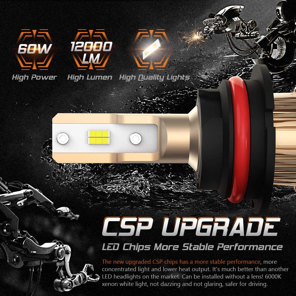 CAR ROVER 60W 12000Lumens Extremely Bright 6000K CSP Chips Conversion Kit Replacement Hi//Lo Beam Fog Light 9004 HB1 LED Bulbs