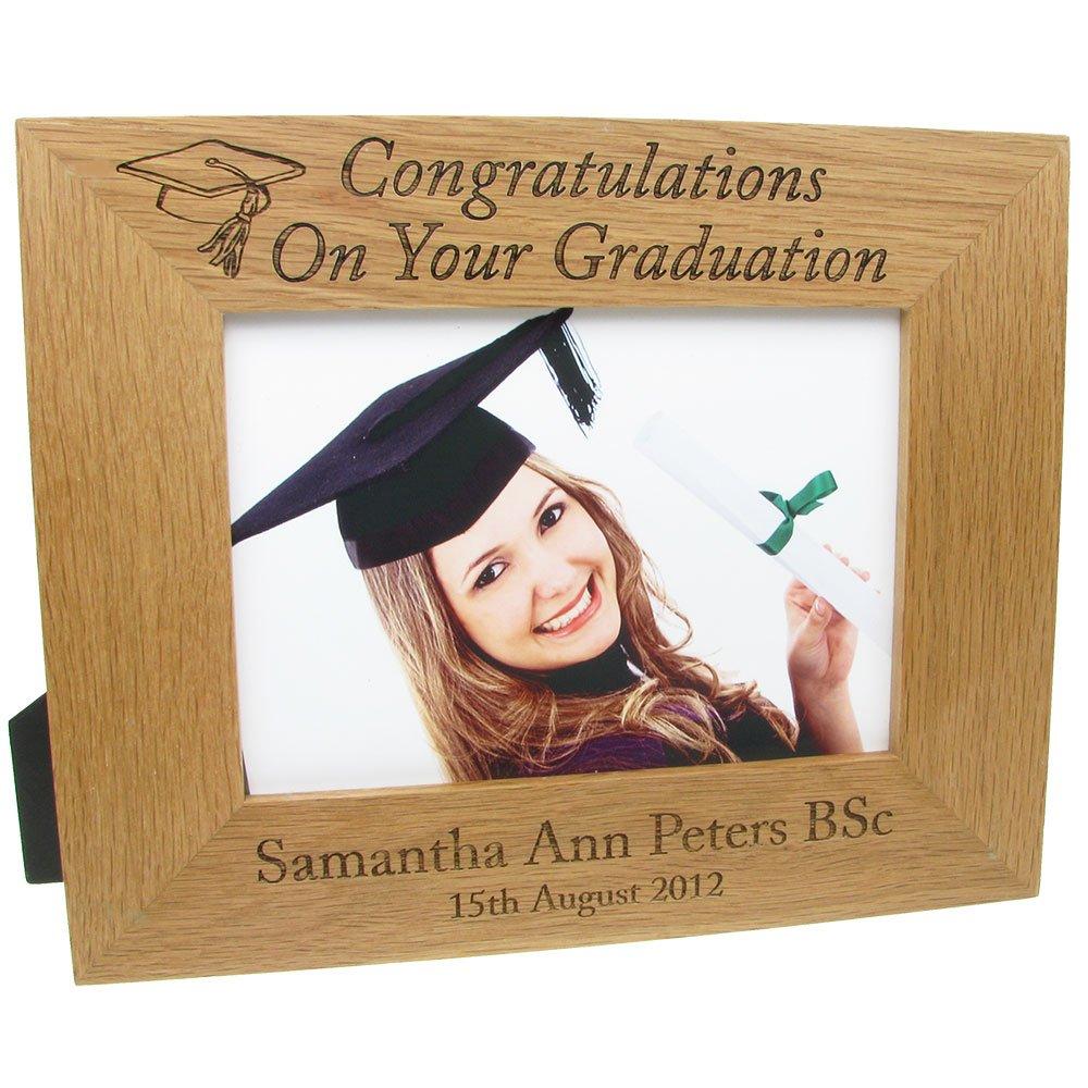 Graduation Gift, Personalised Laser Engraved Oak Graduation Photo ...