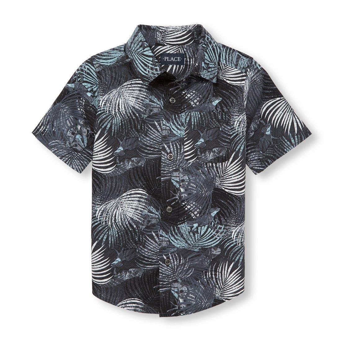 The Children's Place Big Boys' Short Sleeve Button-up Shirt, Gray Steel 02428, XS (4)