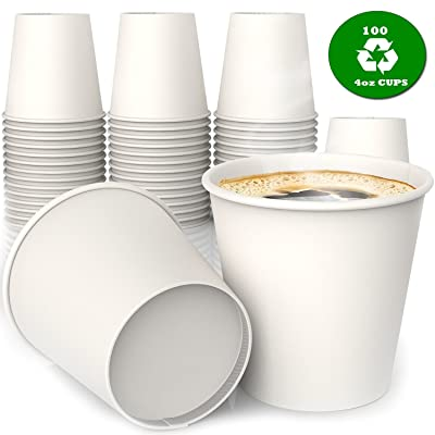 MGGI Trading Lot 100 Gobelets Carton écologique 4 oz Espresso Shot - 100pcs Paper Cups for Hot/Cold Drinks