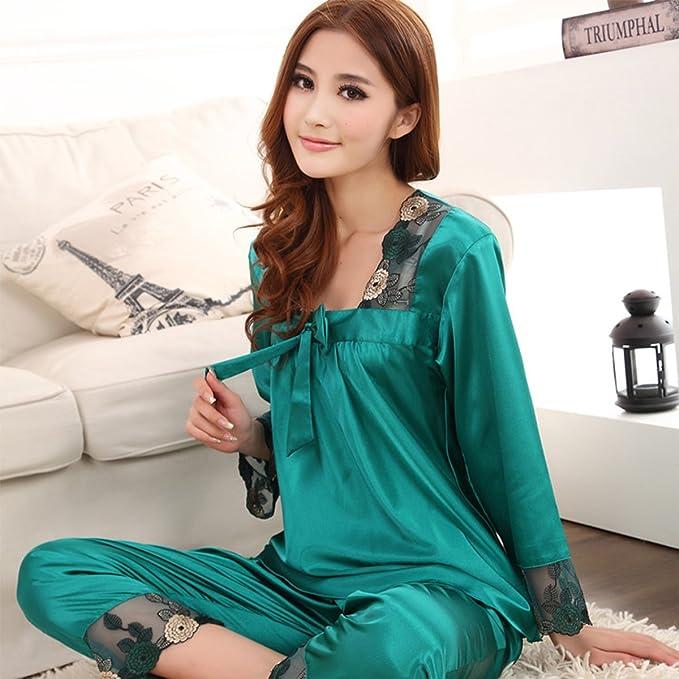 Baihong Womens Satin Silk Sleepwear Homedress Pajamas (L, Green)