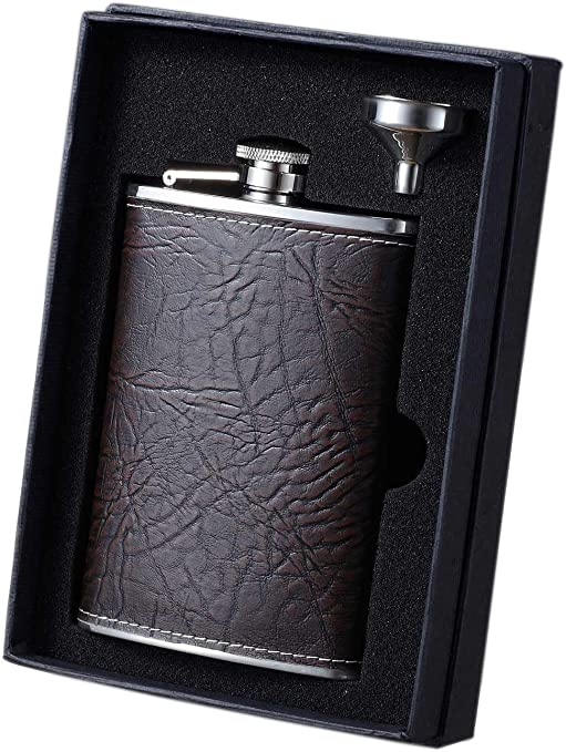 Amazon Com Visol Vset34 5058 Russell Leather Flask And Funnel Gift Set 8 Ounce Rustic Brown Alcohol And Spirits Flasks Flasks
