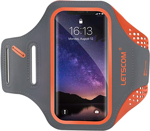Green Headphone Slot and Face ID for Running Water Resistant Cell Phone Armband for iPhone Xs MAX XR 8 7 6s Plus Galaxy S10 S9 S8 S7 with Key Slot Letsfit Running Armband Hiking Walking