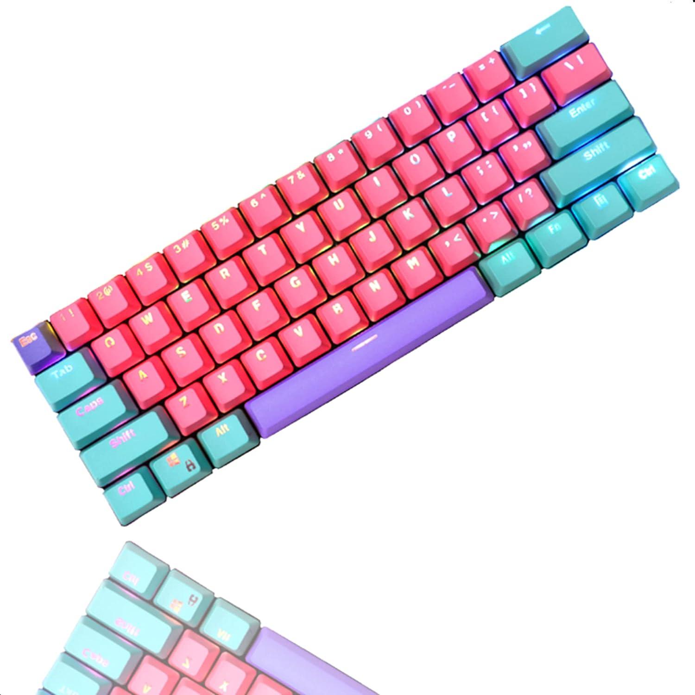 CJXSP PBT 61 Keycaps 60 Percent, OEM Profile Gaming Keycaps Cherry MX RGB Backlit Keycap Set for 60% Mechanical Keyboard Anne Pro 2/Poker/RK61/GK61/Ganss Alt61,Only keycaps (Zhi)