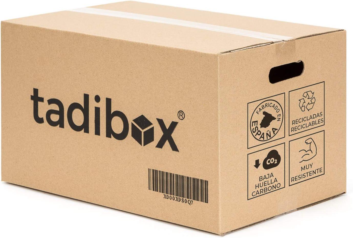 TADIBOX M - 12 Cajas de Cartón para Mudanza y Almacenaje con Asas - Fabricadas en España - 44x30x25cm - Resistente Gramaje 450g/m2 - ECO Box: Amazon.es: Oficina y papelería