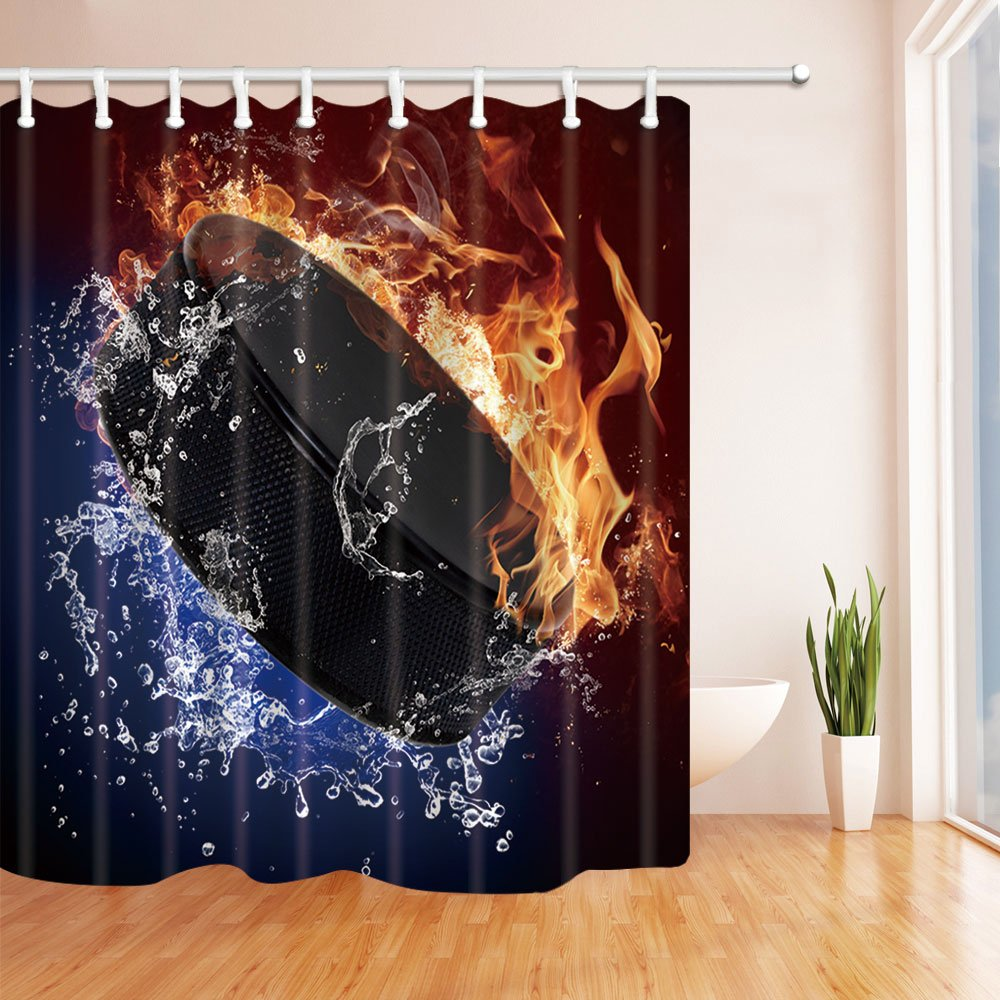 NYMB Sports Home Decor Ice Hockey Shower Curtain in Bath 69X70 inches Mildew Resistant Polyester Fabric Bathroom Fantastic Decorations Bath Curtains Hooks Included (Multi10)