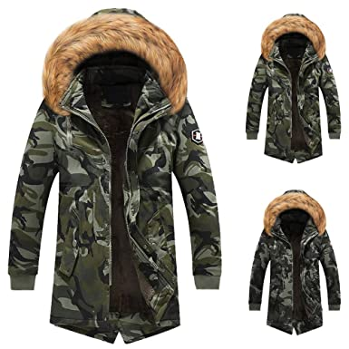 Amazon.com: Men Winter Jacket Military Camouflage Warm Overcoat Slim Long Trench Buttons Zipper Coat: Clothing