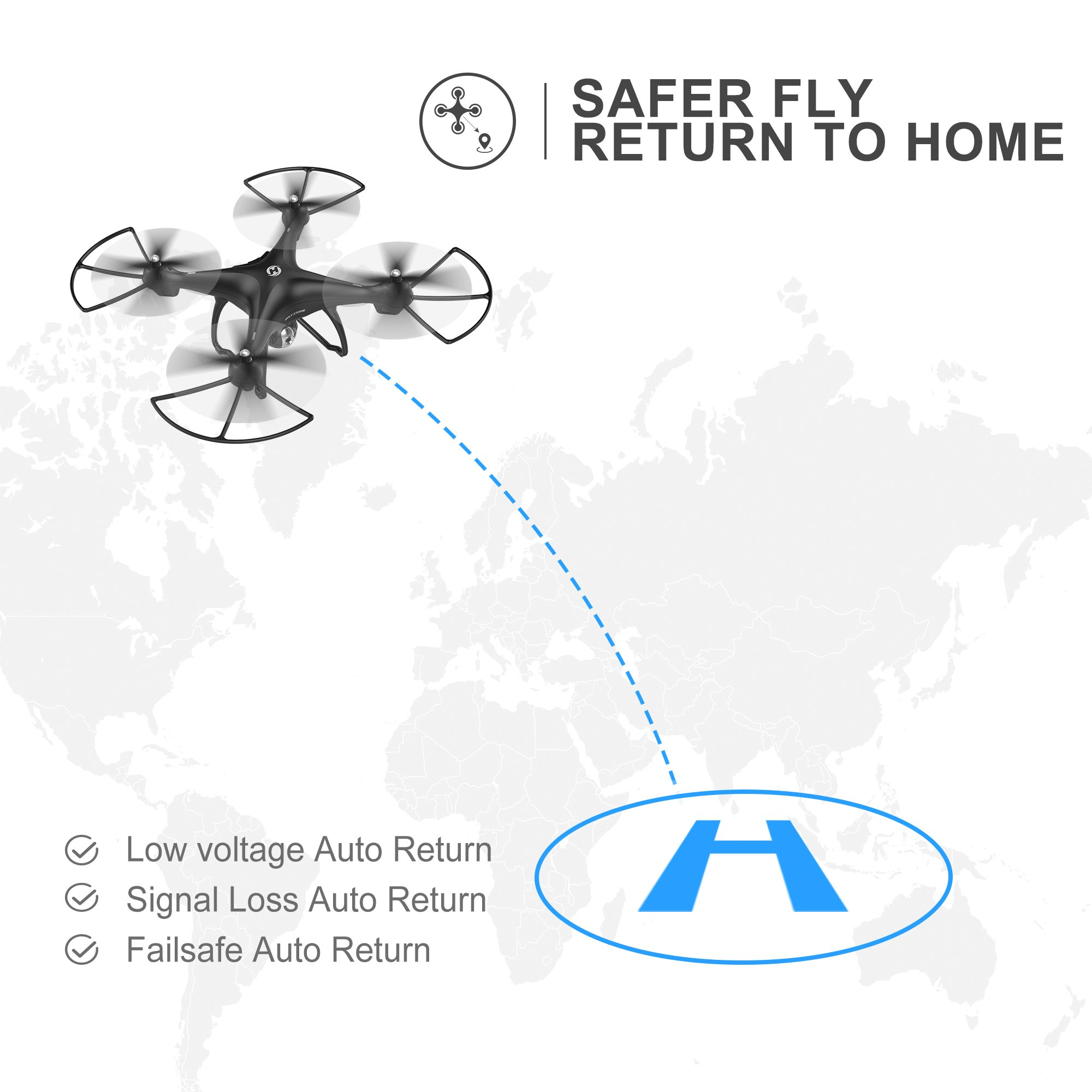 Holy Stone HS100 FPV RC Drone with Camera Live Video and GPS Return Home Quadcopter with Adjustable Wide-Angle 720P HD WIFI Camera- Follow Me, Altitude Hold, Intelligent Battery, Long Control Distance by Holy Stone (Image #7)