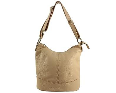 sac porté épaule cuir Vivo Italie - Camel Foncé - sac cuir vivo 6BUdyz