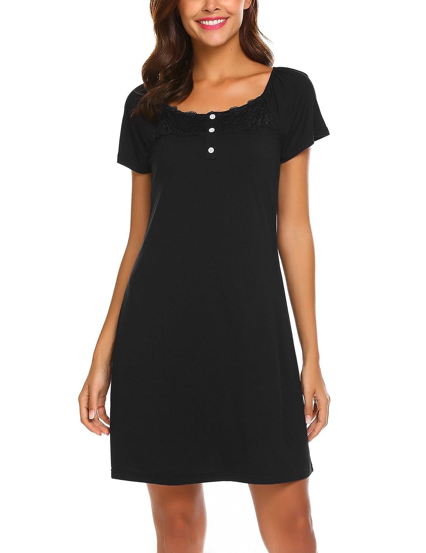 MAXMODA Damen Nachtwäsche Unterkleid mit Spitzen Elegant Nachthemd mit Kurzarm Schlafhemd mit Knopfleiste Homewear Hausanzug S-XL