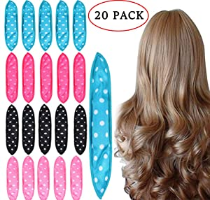 Foam Hair Curlers, Pillow Cloth Hair Rollers,No Heat Sleeping Soft Sponge Rollers for Long, Short, Thick & Thin Hair Spiral Curls Hair Free Headband (4colors)