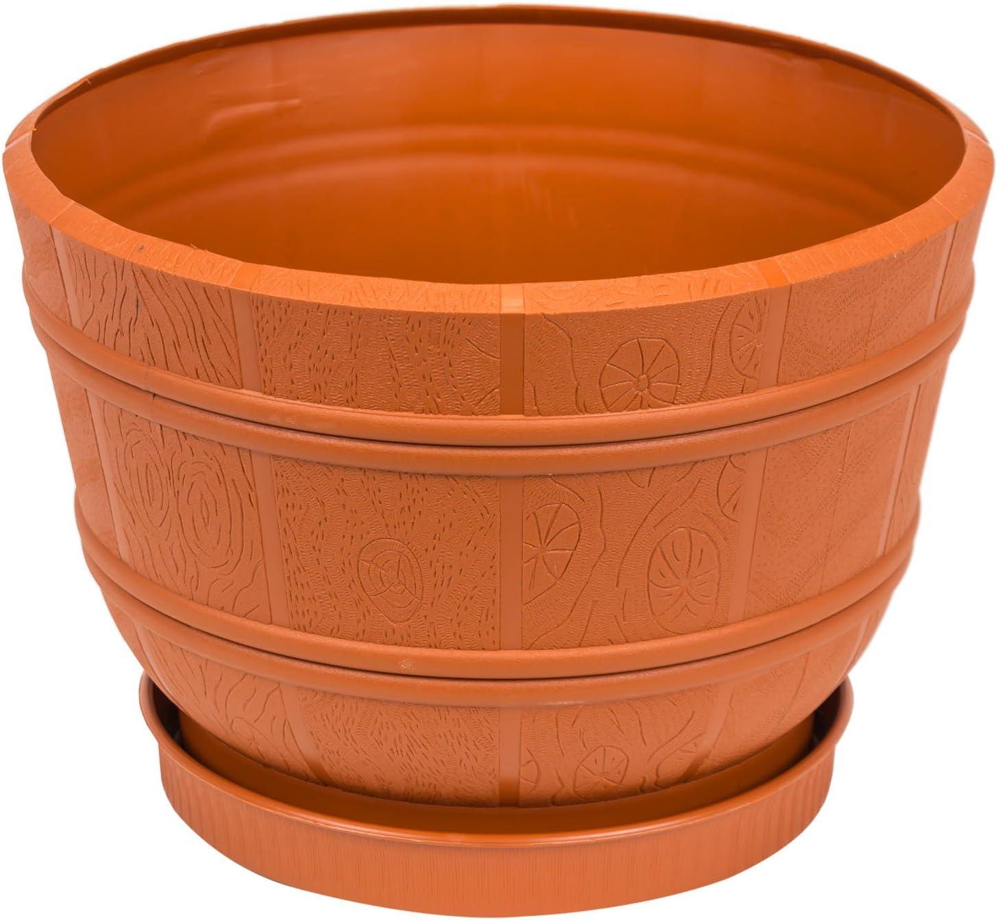 Pot de fleur avec soucoupe Flora en bois atificiel 25.5 cm en marron couleur