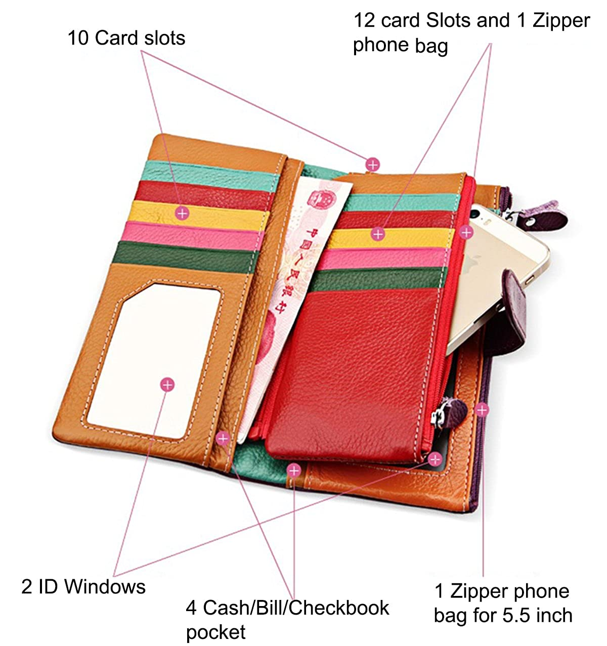 Womens Wallet leather wallet leather clutch Vibrant Card Case Purse for Phone