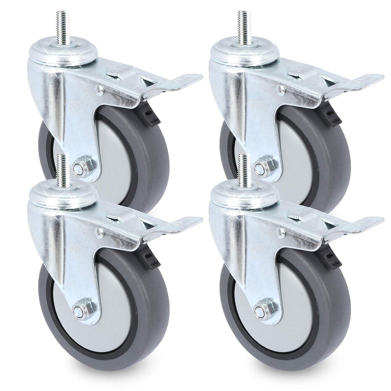 ruedas de transporte con freno y rodillo PRIOstahl 50 mm, 75 mm, 100 mm Juego de ruedas para aparatos con orificio en la espalda