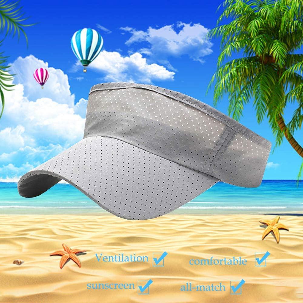 SENDILI Sun Hat for Unisex 3 Piece Lightweight Mesh Visor Casual Outdoor Sport Cap,Black+White+Light Grey,Cap circumference 56-60cm