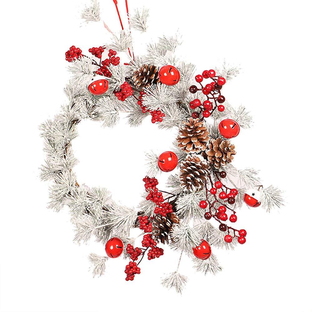 Lovewe Christmas Wreath Hanging,Window Decoration Door Bell Pine Cone Garland 55CM Red Fruit Christmas Decoratio
