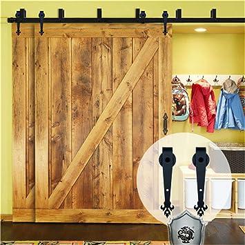 KIRIN 5 Feet Bypass Double Wood Doors Hardware Interior Closet Door Barn  Door Hardware Sliding Track