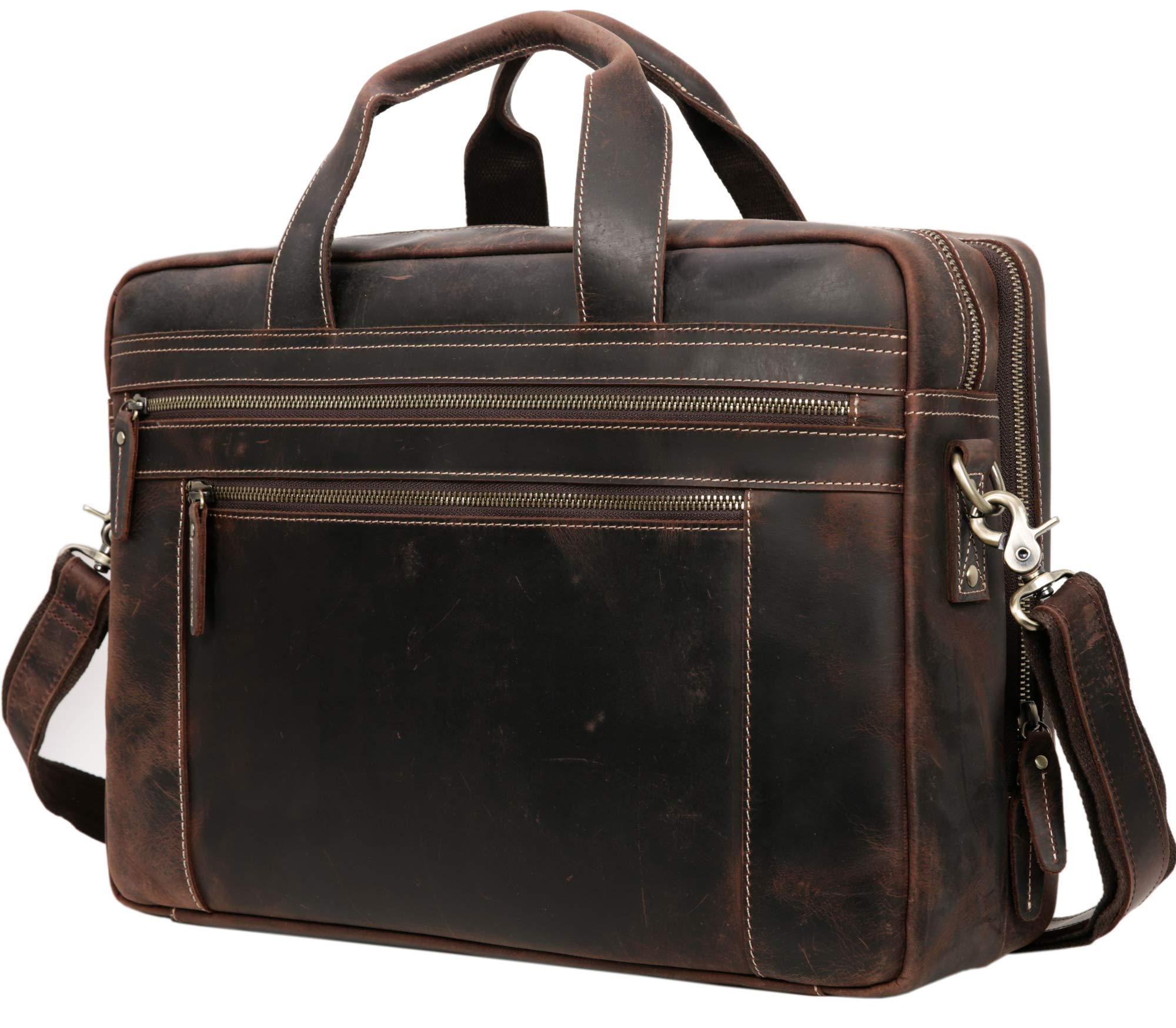 """Iswee Men Thick Leather 17"""" Laptop Briefcase Vintage Professional Business Work Messenger Bag (Dark Brown)"""