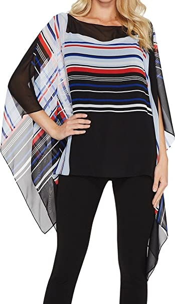 915234e5 Vince Camuto Womens Linear Graphic Panel Poncho at Amazon Women's Clothing  store: