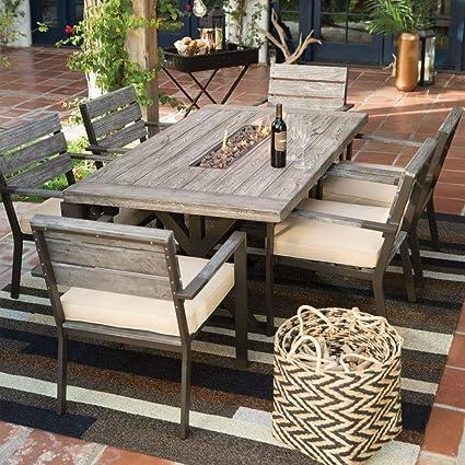 Amazon Com Belham 7 Piece Propane Gas Fire Pit Patio Dining Set