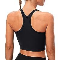 Lavento Women's Racerback Sports Bra Yoga Crop Top with Built in Bra