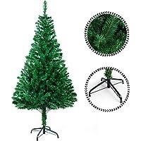 Sunjas Arbre de Noël, Sapin Artificiel avec Support, Matière PVC, Base à Croix en Fer, 120 cm/150cm/180cm et 210cm, Vert