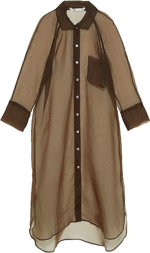 Zara Longline 9479/253 - Camiseta de Organza para Mujer - Marrón - XX-Large: Amazon.es: Ropa y accesorios