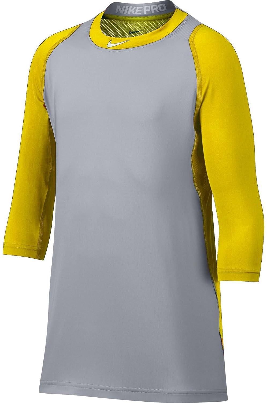 ナイキメンズPro Cool â ¾ -sleeve野球シャツ B0793S1F2H  イエロー/グレー Medium